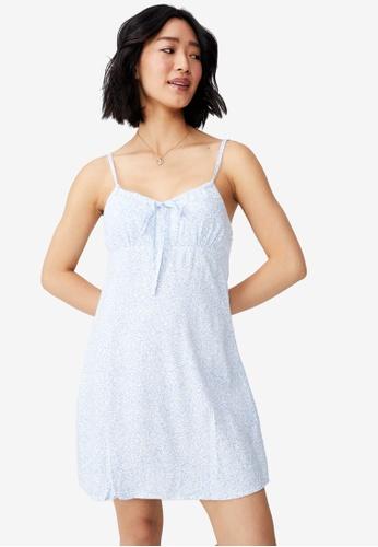 Cotton On blue Woven Petite Ivy Tie Front Mini Dress 9062EAAE7883E4GS_1