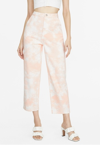Pomelo pink Abstract Print Straight Jeans - Pink 9212FAAFA6A25BGS_1