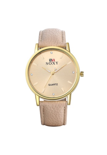 Treasure by B & D beige WH0036I Simple Stylish Quartz Business Man Watch Stainless Steel Metal Round Dial TR022AC29UOGPH_1