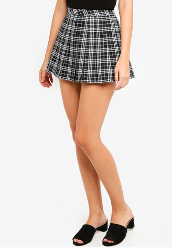 Factorie black and white Pleated Skirt 01BC9AAEA7859BGS_1