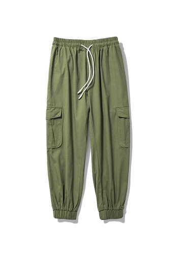 hk-ehunter green Men's Narrow-Leg Casual Pants D1873AAB0815BFGS_1