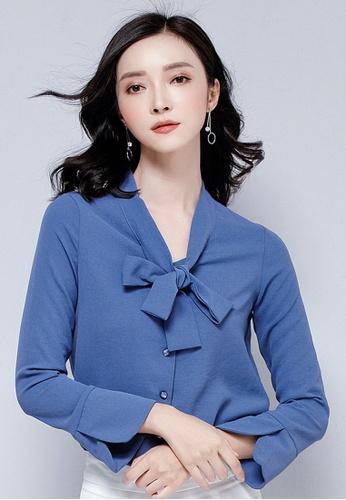 LYCKA blue LBH4901 Lady Chiffon V-Neck Butterfly Tie Long Sleeve Blouse -Blue A529CAA7626449GS_1