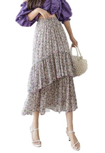 Halo purple Floral Printed Chiffon Skirt A6B40AADAF7B41GS_1
