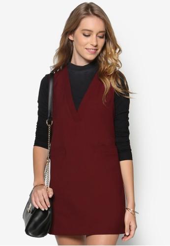 雙口袋V zalora鞋子評價領無袖連身裙, 服飾, 服飾