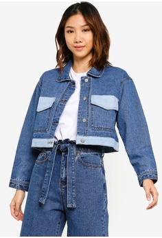 e7d80d751 Something Borrowed blue Contrast Colorblock Denim Jacket CCC39AA4D8E0DBGS_1