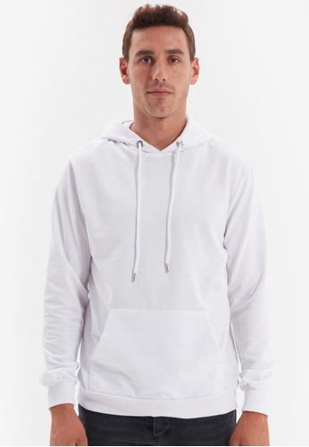 Trendyol white White Hoodie Sweatshirt 3B3F3AAA807250GS_1