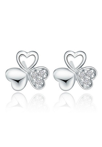 YOUNIQ silver YOUNIQ Clover Love CZ 925 Sterling Earrings (Silver) YO999AC70NONMY_1