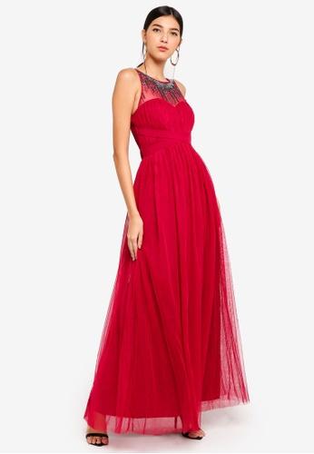 Little Mistress red Berry Mesh Maxi Dress 5D7ECAA90B72EBGS_1