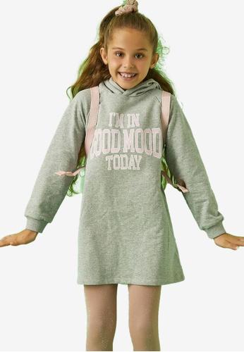 KOTON grey Hooded Dress 9E3A9KA2CA2514GS_1