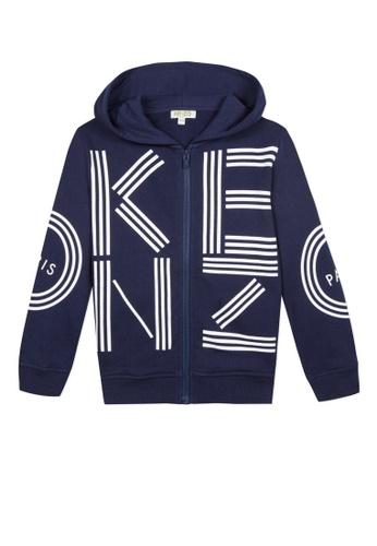 KENZO KIDS blue KENZO UNISEX JACKETS WITH HOODIES CFEAEKAACF5E90GS_1