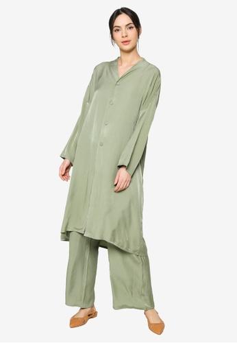 ZALIA BASICS green Lounge Top with Pants Set 08651AAF0AB5CEGS_1