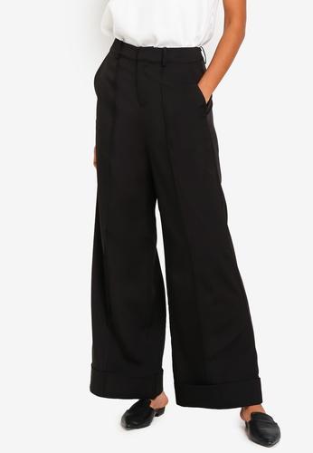 ZALORA BASICS black Basic Deep Cuff Wide Leg Trousers F8FC3AABF8C2D1GS_1