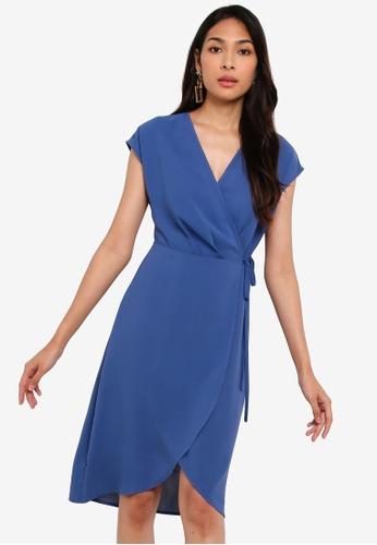 ZALORA blue Overlap Extended Sleeves Dress 19073AA5815F6FGS_1