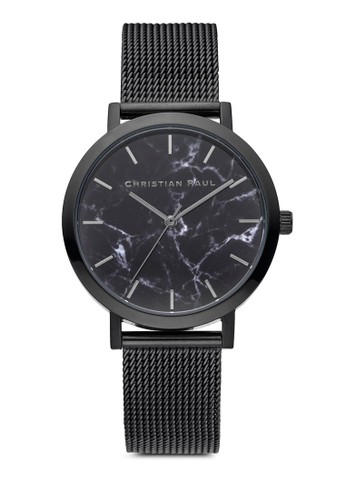 35mmzalora 心得 The Strand 大理石圓框網眼手錶, 錶類, 不銹鋼錶帶