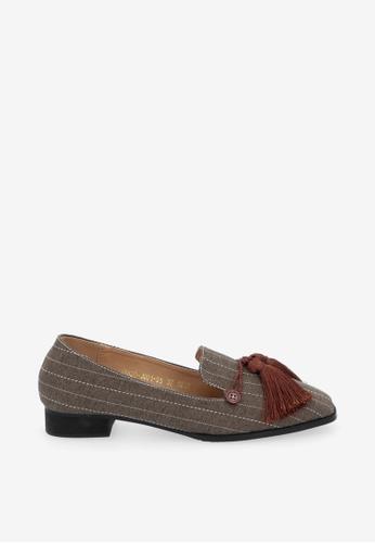 "Carlo Rino 褐色 Walnut 1"" Suri In Stripes Loafers 714C5SHE9AC657GS_1"