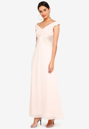 Little Mistress beige Eleanor Empire Maxi Dress With Drape Front 255E2AAD1A77AFGS_1