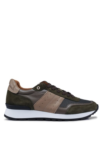 Selected Homme green Frank Mix Runner Sneakers B452CSHF590313GS_1
