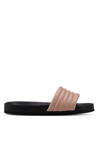 Public Desire pink Gal Quilted Sliders C6A42SHB1EEF48GS_1