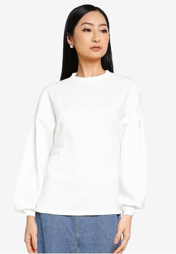 JACQUELINE DE YONG white Bella Long Sleeve Sweatshirt 3FD8EAA62D3CDFGS_1