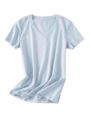 Twenty Eight Shoes blue VANSA V-neck Mercerized Cotton Short-sleeved T-Shirt VCW-Ts1902V B418FAA003B193GS_1