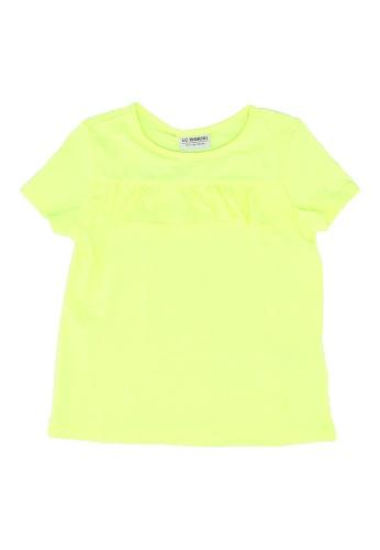 LC Waikiki yellow Girl's Ruffle Short Sleeve T-Shirt EF41CKAB7844F3GS_1
