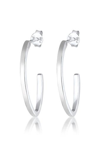 ELLI GERMANY silver Elli Germany Earrings Creole Oval Round Geo Basic Blogger 925 Sterling Silver 34EDBAC7E5A521GS_1