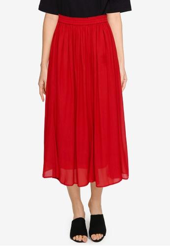 GLOBAL WORK red Flared Midi Skirt 6D236AA6C619ECGS_1