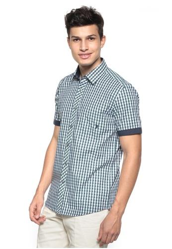 POLO HAUS multi Polo Haus - Woven Short Sleeve Shirt (Blue Green) PO783AA91WDOMY_1