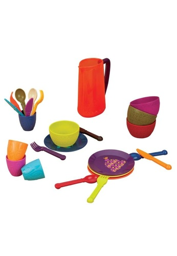 Battat [B.Toys] Let's Dish, 25 Piece Set Dishwasher Safe Cutlery/ Pretend Play Dish Set Suitable for Food & Drinks - 2years+ 4C54DHL606F061GS_1