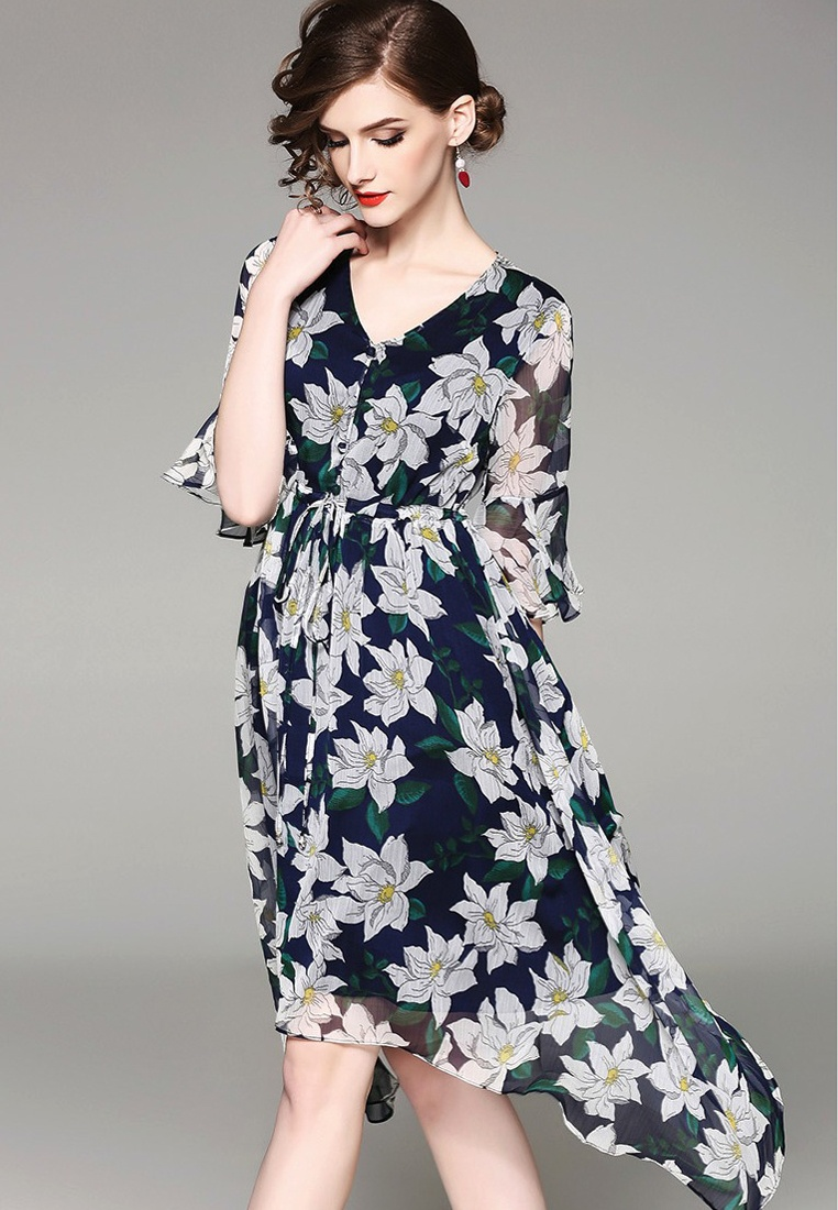 Blue A041132 New Through Dress See One 2018 Sunnydaysweety Floral Piece Pattern vAxwwqp8F