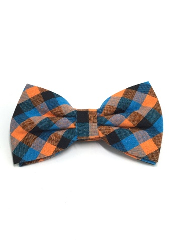 Splice Cufflinks Probe Series Blue, Orange and Black Checked Design Cotton Pre-tied Bow Tie SP744AC05QPMSG_1
