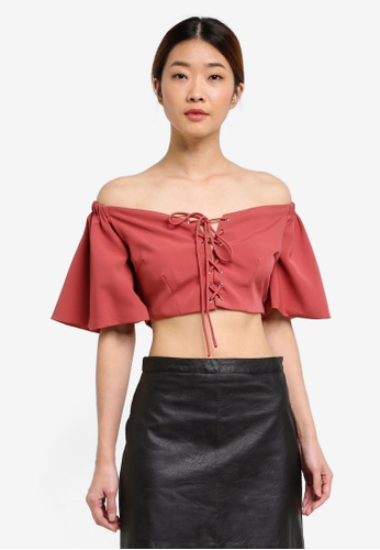 Something Borrowed pink Off Shoulder Lace Up Corset Crop Top 9811AAA7009FBBGS_1