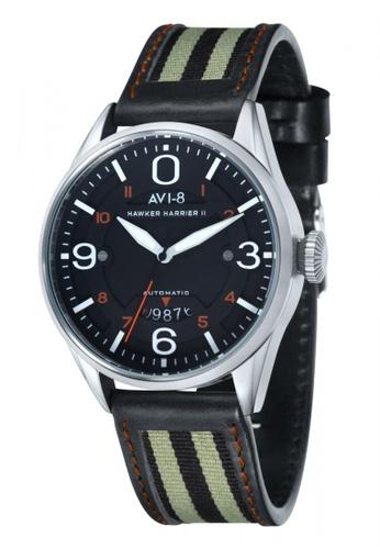 AVI-8 black Hawker Harrier II  Men's Leather Watch AV642AC59JSEPH_1