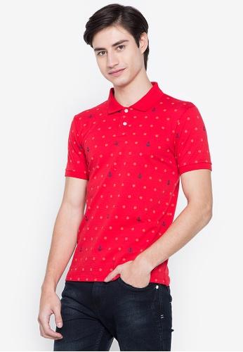 BNY red Full Print Stretch Polo Shirt 6EC02AA52714E9GS_1