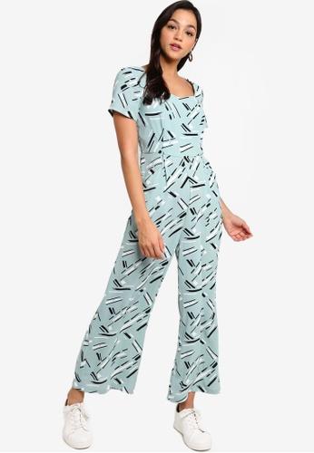 Something Borrowed green and multi Sweet Heart Neck Culotte Jumpsuit 03020AAD1B4F2CGS_1