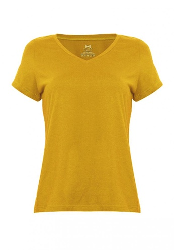 Huga yellow Ultra Comfort Cotton Basic Plain V-Neck T-Shirt 49D2CAAF81AB5EGS_1