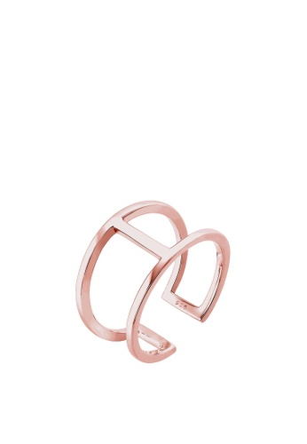 Elli Germany gold Elli Germany Geo Minimal Trend 925 Silver Rose Gold Plated Ring EL474AC60OKTMY_1