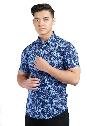UA BOUTIQUE blue Short Sleeve Shirt Batik SSB120-043 (D.Blue/ Blue) 4945BAA65900DCGS_1