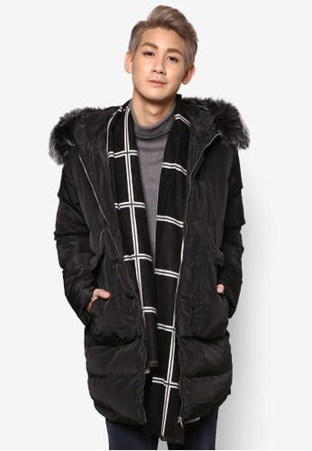仿毛esprit hk滾邊連帽軟襯長版外套, 服飾, 冬裝外套