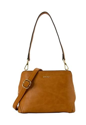 SEMBONIA brown SEMBONIA Synthetic Leather Saddle Flat Crossbody Bag (Brown) SE598AC0SZ7ZMY_1