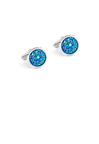 Glamorousky blue Fashion High-end Geometric Round Blue Cubic Zirconia Cufflinks A2F93ACBB40CFCGS_1