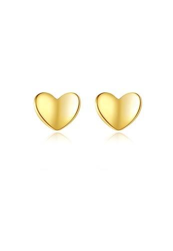 SUNRAIS gold High quality Silver S925 gold heart earrings 7CBC3AC1711F6DGS_1