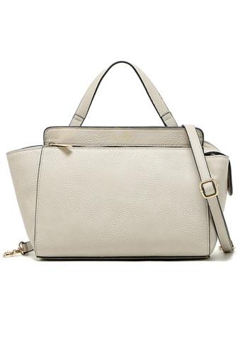 LULUGIFT grey Love Tally Korean Design PU Leather Grey Handbag LU989AC65FLYMY_1