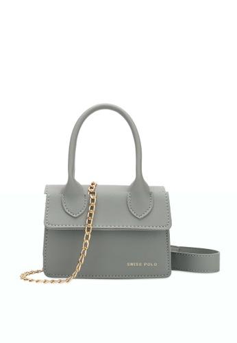 Swiss Polo grey Swiss Polo Ladies Chain Sling Bag 58D07ACC1434F1GS_1