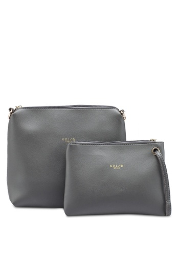 Unisa grey Faux Leather Sling Bag With Wristlet 8850FAC1AC0C9BGS_1
