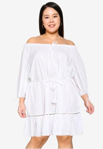 Cotton On white Plus Size Woven Cherry Smock Dress 5F84CAA063AFE1GS_1