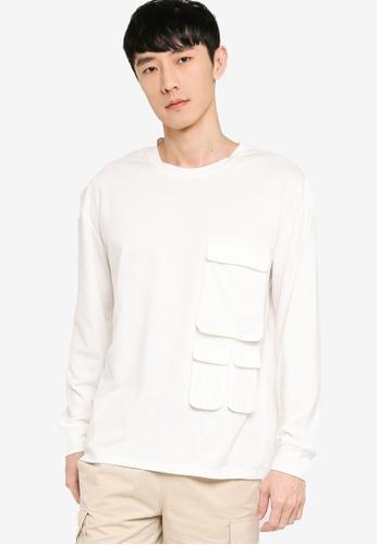 ZALORA BASICS white Oversized Tri Pocket Utility Long Sleeve T-shirt 43548AAE61D64EGS_1