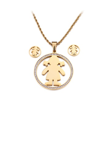Glamorousky white Fashion Personality Plated Gold Girl Geometric Round 316L Stainless Steel Necklace and Stud Earrings Set with Cubic Zirconia 0F83AAC7F0753BGS_1
