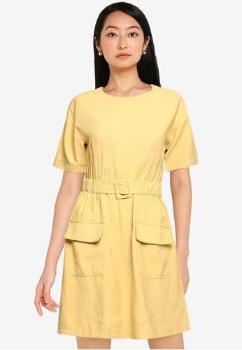 ZALORA BASICS yellow Double Pocket Dress With Belt E9FB0AAD4E85B3GS_1
