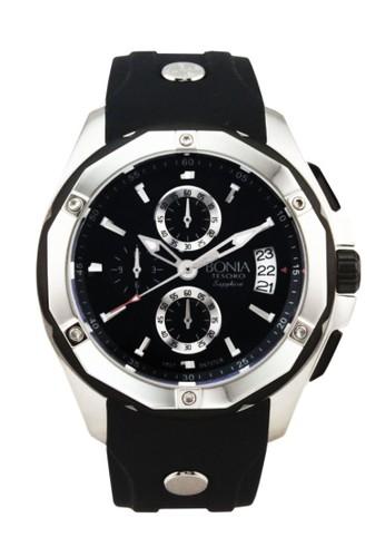 Bonia B737-1332CR Jam Tangan Pria Black Silver